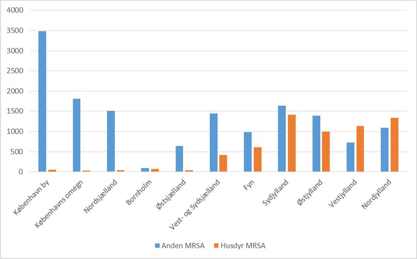 husdyr MRSA geografisk forekomst